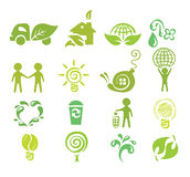A set of icons - Ecology. Vector illustration - a set of abstract icons on the theme of ecology stock illustration