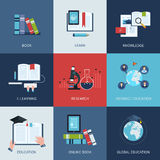 Set of icons for education include distance Stock Images
