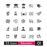 Set of 25 icons education and learning grey icon 001 Royalty Free Stock Photos