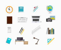 Set of icons for education tools or office tools. Stock Photo