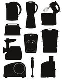 Set icons electrical appliances for the kitchen black silhouette Stock Images