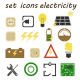 Set icons electrician Royalty Free Stock Photos