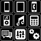 Set of icons (electronics, phones, players) Stock Image