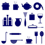 Set of icons with elements of kitchen utensils, blue color. Over white background stock illustration