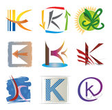 Set of Icons and Elements Letter K Stock Photos