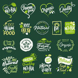 Set of icons and elements for organic food and drink, restaurant, food store, natural products, farm fresh food,  e-commerce. Vector illustration concepts for Royalty Free Stock Image