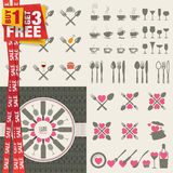 Set of icons and elements for restaurants, food an Stock Photo