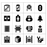 Set icons of elevator and lift. Isolated on white royalty free illustration