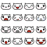 Set icons Emoji kittens with different emotions Vector illustration royalty free illustration