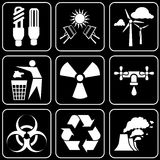 Set of icons (energy, ecology, environmental prote Royalty Free Stock Images