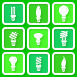 Set of 9 icons of energy saving lamps Stock Image