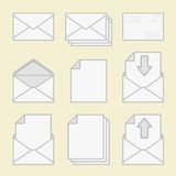Set of icons envelopes and paper. Royalty Free Stock Images