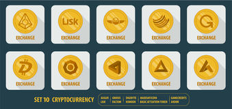 Set of  icons exchange cryptocurrency Stock Image