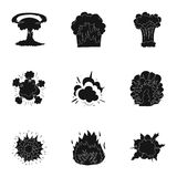 A set of icons about the explosion. Various explosions, a cloud of smoke and fire.Explosions icon in set collection on Royalty Free Stock Photography