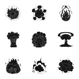 A set of icons about the explosion. Various explosions, a cloud of smoke and fire.Explosions icon in set collection on. Black style vector symbol stock web Royalty Free Stock Photography