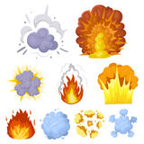 A set of icons about the explosion. Various explosions, a cloud of smoke and fire.Explosions icon in set collection on Stock Photography