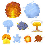 Various explosions, a cloud of smoke and fire.Explosions icon in set collection on. A set of icons about the explosion. Various explosions, a cloud of smoke and Stock Photo