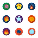 A set of icons about the explosion. Various explosions, a cloud of smoke and fire.Explosions icon in set collection on. Flat style vector symbol stock web Royalty Free Stock Photos