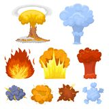 A set of icons about the explosion. Various explosions, a cloud of smoke and fire.Explosions icon in set collection on. Cartoon style vector symbol stock web Stock Image