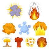 A set of icons about the explosion. Various explosions, a cloud of smoke and fire.Explosions icon in set collection on. Cartoon style vector symbol stock web Royalty Free Stock Photo