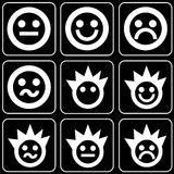 Set of icons (faces, smiles) Stock Image
