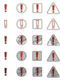Set of icons with the familiar exclamation point. Collection of symbols attention warning. Stock Image