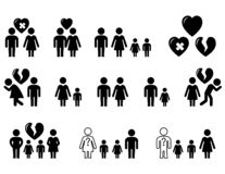 Set of black icons with family situation. Set icons with family situation - wedding, divorce, love, hatred stock illustration