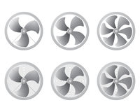 Set of icons fan. Ventilation airflow vector. Set of icons fan. Ventilation airflow vector illustration. Modern HVAC blower Royalty Free Stock Photography