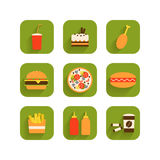 Set of icons of fast food Stock Images