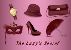 A set of icons of female accessories. A clock, a hat with a rose, a handbag, a mask with feathers, a slipper, a red umbrella. Styl Stock Image
