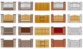 Set icons fence made from wooden stone brick vector illustration Stock Photos