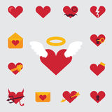 Set of icons, or festive invitation card for Valentine Day featuring the character  love, hearts, angels and romanti Stock Photo