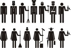 Set of icons of figure people job occupation Royalty Free Stock Images