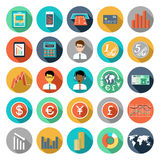 Set of  icons with financial infographics. Set of flat design icons with financial infographics Royalty Free Stock Photography