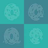 Set of icons fingerprint. Identification, and input protection by means of a scanner Royalty Free Stock Photography