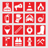 Set icons of firefighting equipment  illustration Royalty Free Stock Images