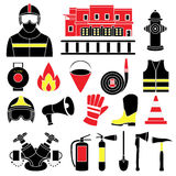 Set icons of firefighting equipment  illustration Stock Image
