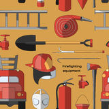 Set icons of firefighting equipment pattern Royalty Free Stock Photography