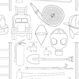 Set icons of firefighting equipment pattern. Vector illustration isolated on white background Royalty Free Stock Photos