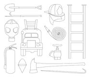 Set icons of firefighting equipment. Vector illustration isolated on white background Stock Images