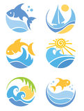 A set of icons - of fish and sea. Illustrations,  set of icons - of fish and sea Stock Photo