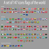A set of icons with flags of countries around the world. vector illustration