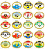 Set of icons. Flags of german cities Baden-Wurttemberg. Royalty Free Stock Image