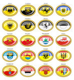 Set of icons. Flags of german cities Baden-Wurttemberg. royalty free illustration