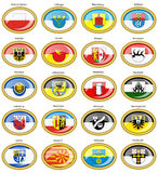 Set of icons. Flags of german cities Baden-Wurttemberg. Stock Photography