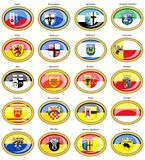 Set of icons. Flags of german cities North Rhine-Westphalia. Royalty Free Stock Photo