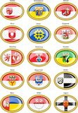 Set of icons. Flags of german cities North Rhine-Westphalia. Stock Photography