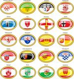 Set of icons. Flags of german cities North Rhine-Westphalia. Stock Image