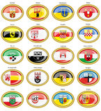 Set of icons. Flags of german cities North Rhine-Westphalia. Vector. 3D Stock Images