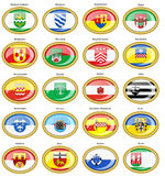 Set of icons. Flags of german cities North Rhine-Westphalia. Vector. 3D Royalty Free Stock Image